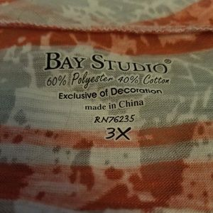 Bay Studio Tops - Sheer pink and white bay studio top